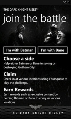 Screenshots from The Dark Knight Rises app