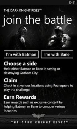 Screenshots from The Dark Knight Rises app