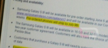 A blurry internal Verizon screen shot shows pre-orders will be fulfilled on July 9th