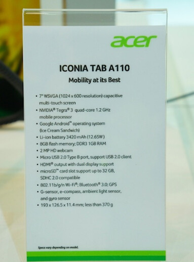 The Acer Iconia Tab A210 and Acer Iconia Tab A110