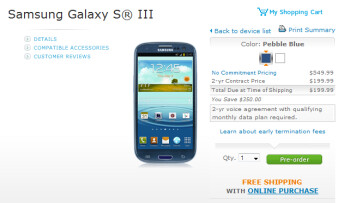The 16GB Samsung Galaxy S III can be pre-ordered from AT&T