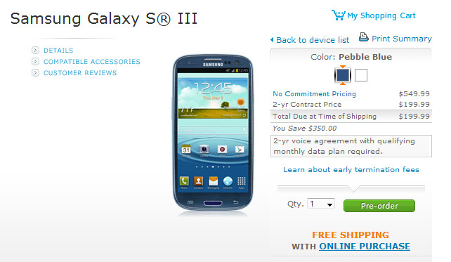 The 16GB Samsung Galaxy S III can be pre-ordered from AT&T - Samsung Galaxy S III now available to be pre-ordered at Sprint, AT&T, Verizon and Best Buy retail locations