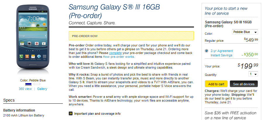 Sprint is now allowing customers to reserve the Samsung Galaxy S III - Samsung Galaxy S III now available to be pre-ordered at Sprint, AT&T, Verizon and Best Buy retail locations