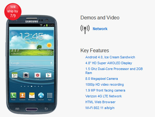 Verizon's own web site shows a July 9th launch - Samsung Galaxy S III now available to be pre-ordered at Sprint, AT&T, Verizon and Best Buy retail locations