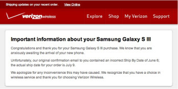Verizon now confirms the July 9th launch date for the Samsung Galaxy S III
