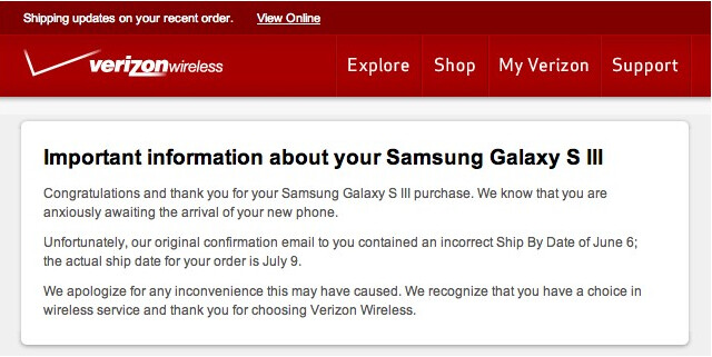 Verizon now confirms the July 9th launch date for the Samsung Galaxy S III - Update on Verizon rumors: HTC DROID Incredible 4G LTE June 21st, Samsung Galaxy S III July 9th