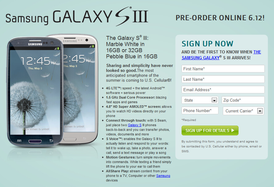 U.S. Cellular will accept pre-orders for the Samsung Galaxy S III starting on Tuesday - U.S. Cellular asks for more money upfront with the Samsung Galaxy S III