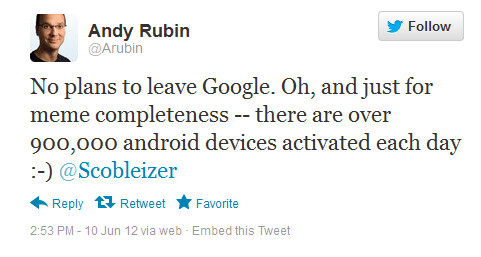 Andy Rubin tweets his intentions - Andy Rubin: Android activations reach 900,000 a day