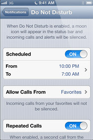 """Do not disturb"" feature mutes calls from all except your favorites"