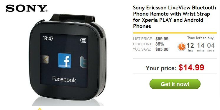 Get a Sony Ericsson LiveView Android-based watch for a ...
