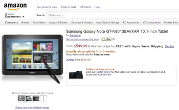 Samsung Galaxy Note 10.1 pre-order from Amazon