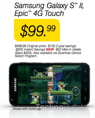A price cut is rumored to be coming to the Samsung Epic 4G Touch - Price cut taking Sprint's Samsung Epic 4G Touch under $100 on contract?