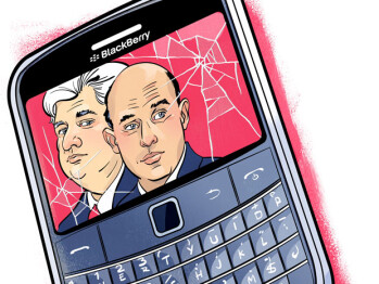 Collecting $12 million from RIM, Mike Lazaridis (L) and Jim Balsillie