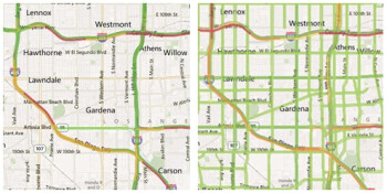 Traffic info provided by Maps for Windows Phone in Los Angeles, before and after
