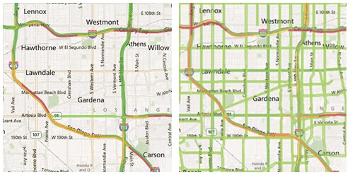Traffic info provided by Maps for Windows Phone in Los Angeles, before and after - Traffic information in Windows Phone Maps coming to more countries soon