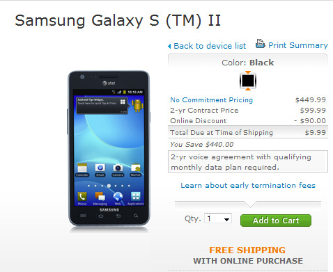 The Samsung Galaxy S II is $9.99 from AT&T through Sunday - AT&T prices the Samsung Galaxy S II at $9.99 until June 17th