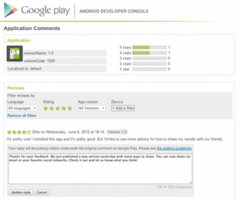 Some developers can now respond to users' comments on Google Play Store