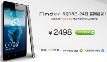Sandwiched between two Apple iPhones (R), the Oppo Finder can now be pre-ordered