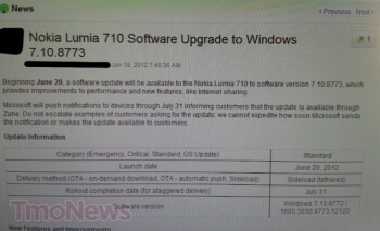 Leaked screenshot says Microsoft is about to push out Tango update to T-Mobile's Nokia Lumia 710