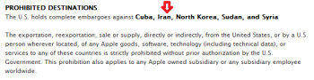 Apple's policy on shipping to countries that are the subject of a U.S. embargo