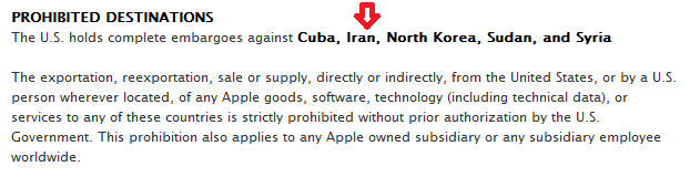 Apple's policy on shipping to countries that are the subject of a U.S. embargo - Apple Store in Georgia refuses to sell Apple iPhone and Apple iPad to customer speaking Farsi