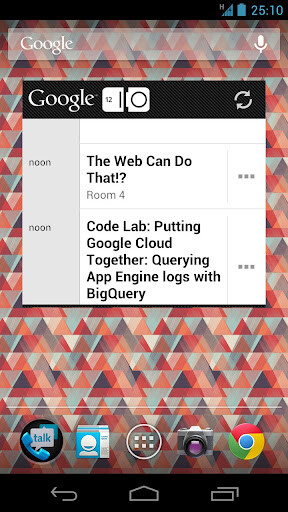 The Google search box on the Google IO 2012 app