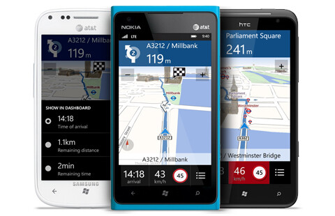 Offline turn-by-turn navigation, maps powered by Nokia