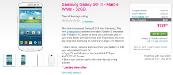 Only one version of the Samsung Galaxy S III is now available online from T-Mobile