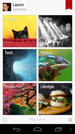 Images from the Android version of Flipboard