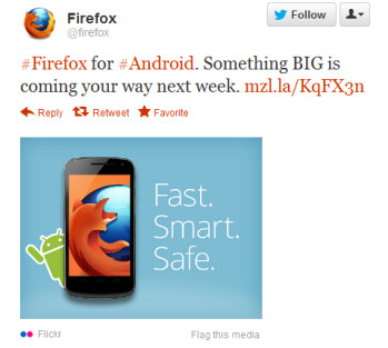This tweet from Firefox says something BIG is coming to Firefox for Android