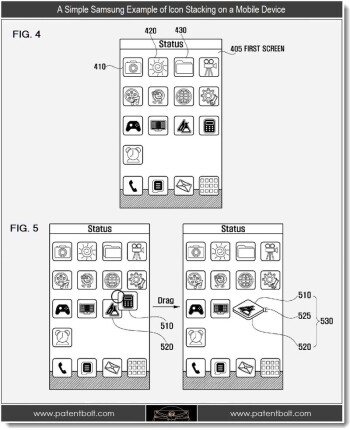 The patented Samsung UI allows users to rearrange icons (L) while stacking them up like a deck of cards