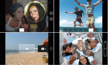 The 4 new features on the Camera Extras app exclusively for Nokia Lumia cameras, clockwise Smart Group Shot, Action Shot, Self Timer and Panorama
