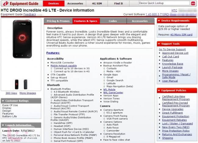 The Verizon Equipment Guide is calling for a July 5th launch for the HTC DROID Incredible 4G LTE - HTC DROID Incredible 4G LTE to launch July 5th according to Verizon's Equipment Guide
