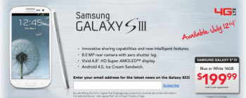 Retailer HH Gregg's website shows a July 12th launch date for the Samsung Galaxy S III