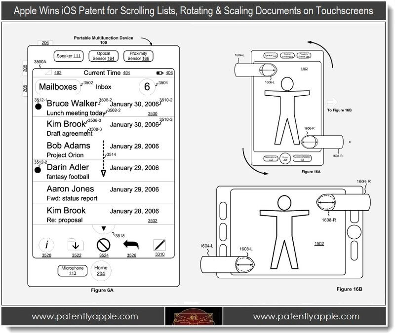 Apple's patent for scrolling lists - 27 patents awarded to Apple