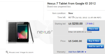 On eBay, you can buy the $199.99 Google Nexus 7 for $400