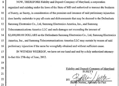 Apple posted a $2.6 million bond - Apple posts bond while Samsung asks for stay of Samsung GALAXY Tab 10.1 injunction