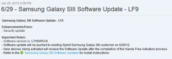 Sprint owners with the Samsung Galaxy S III (R) have received their first software update
