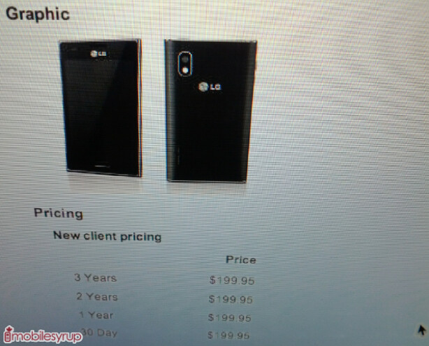 This leaked screenshot reveals $199.95 off-contract price for Bell's LG Optimus L5 - LG Optimus L5, $199.95 with no contract from Bell