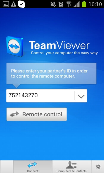 TeamViewer is now installed on our mobile device
