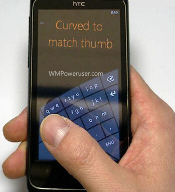 Arching on-screen keyboard might debut in Windows Phone 8