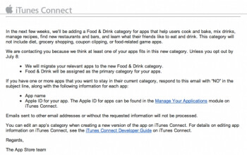 Food & Drink category coming to the Apple App Store