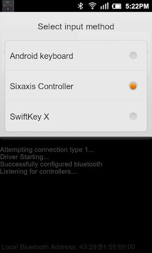 the Sixaxis Controller application