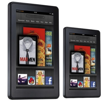 Rendering of a possible 8.9 inch Amaon Kindle Fire 2 (L) and the 7 inch model