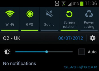 Samsung Galaxy S III software update adds a brightness widget in the notifications tray
