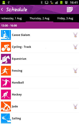 Screenshots from the results app for the London Olympics