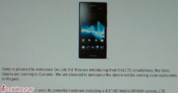 This leaked document says the Sony Xperia ion is a Rogers exclusive in Canada