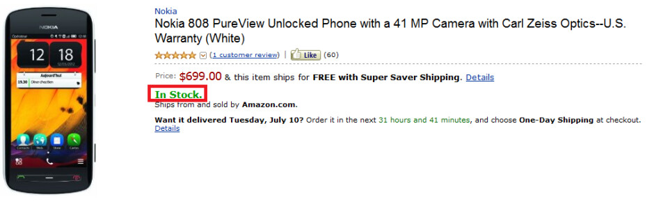 The Nokia 808 PureView is in stock at Amazon - Nokia 808 PureView in stock at Amazon