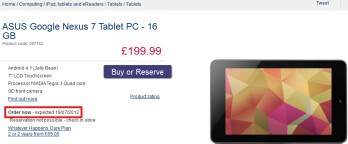 Curry's pre-order page shows a July 19th ship date for the Google Nexus 7 in the U.K.