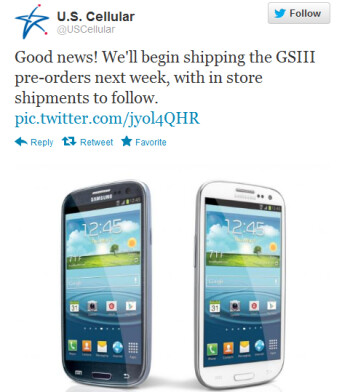 This tweet from U.S. Cellular says pre-orders for the Samsung Galaxy S III are going out this coming week